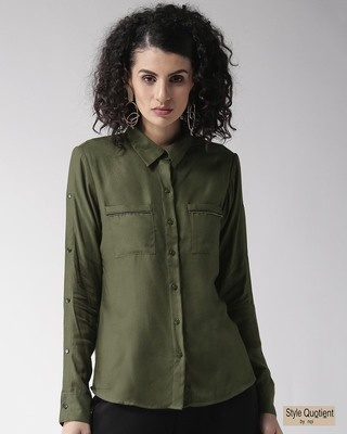 Shop Style Quotient Women Olive Green Regular Fit Solid Casual Shirt-Front