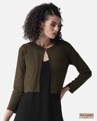 Shop Style Quotient Women Olive Green Solid Crop Button Shrug-Front