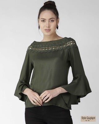 Shop Style Quotient Women Olive Green Solid Top-Front