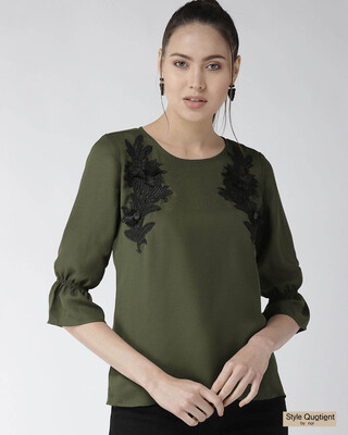 Shop Style Quotient Women Olive Green Solid Top with Applique Detail-Front