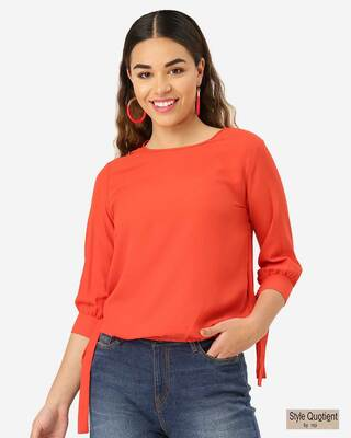 Shop Style Quotient Women Orange Solid Blouson Top-Front