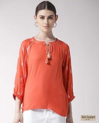 Shop Style Quotient Women Orange Solid Top-Front