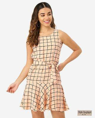 Shop Style Quotient Women Peach-Coloured & Black Checked Drop-Waist Dress-Front