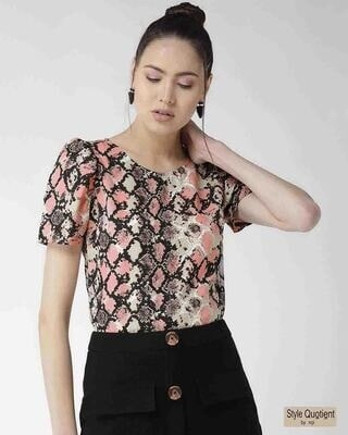 Shop Style Quotient Women Peach-Coloured & Black Printed Top-Front