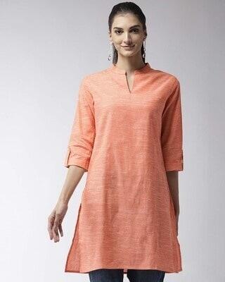 Shop Style Quotient Women Peach-Coloured Solid Straight Kurta-Front