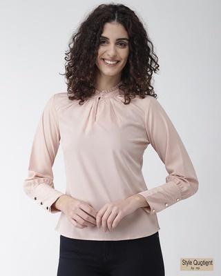 Shop Style Quotient Women Peach-Coloured Solid Top-Front