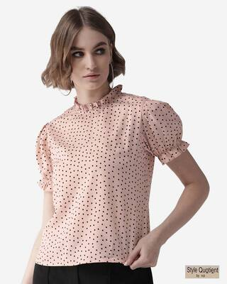 Shop Style Quotient Women Pink & Black Polka Dot Print Top-Front