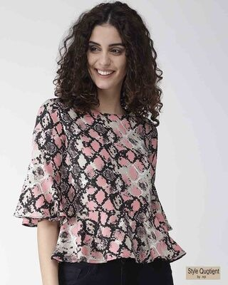 Shop Style Quotient Women Pink & Black Snakeskin Print A-Line Top-Front