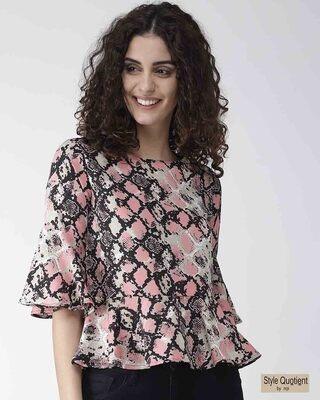 Shop Style Quotient Women Pink & Black Snakeskin Print A-Line Top-Front