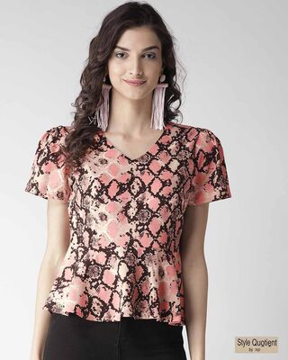 Shop Style Quotient Women Pink & Black Snakeskin Print Peplum Top-Front