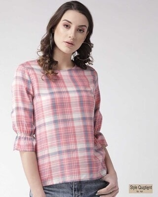 Shop Style Quotient Women Pink & Blue Checked Top-Front