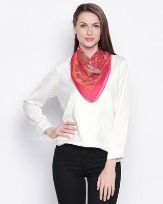 Shop Style Quotient Women Pink & Orange Printed Scarf-Front