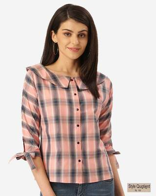 Shop Style Quotient Women Pink & Teal Blue Checked Shirt Style Top-Front