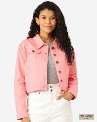 Shop Style Quotient Women Pink Solid Cropped Denim Jacket-Front