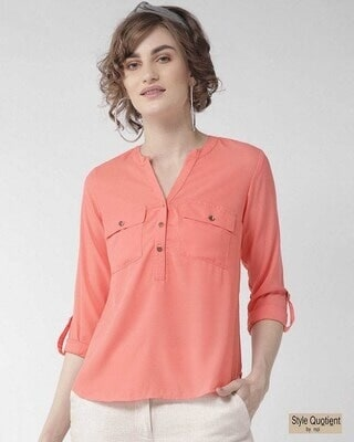 Shop Style Quotient Women Pink Solid Shirt Style Top-Front