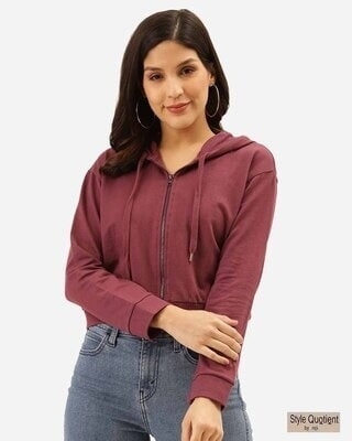 Shop Style Quotient Women Purple Solid Hooded Crop Sweatshirt-Front
