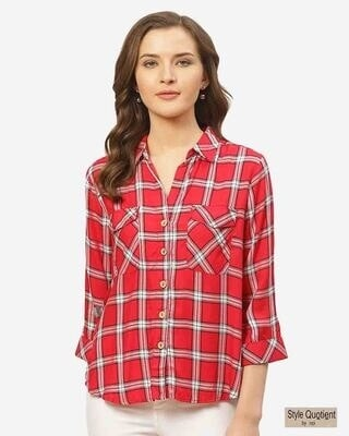 Shop Style Quotient Women Red & White Checked Casual Shirt-Front