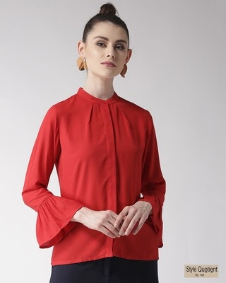 Shop Style Quotient Women Red Regular Fit Solid Casual Shirt-Front