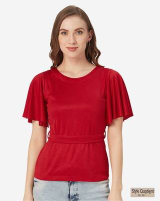 Shop Style Quotient Women Red Solid Top-Front
