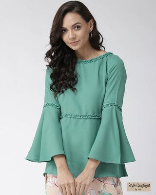 Shop Style Quotient Women Sea Green Solid A-Line Top-Front