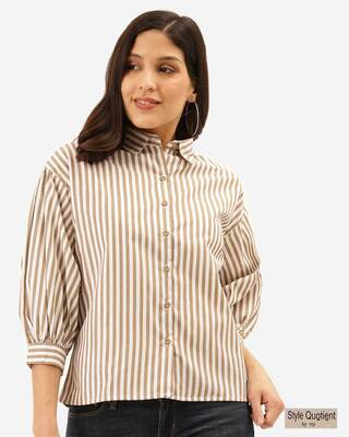 Shop Style Quotient Women White & Beige Striped Shirt-Front