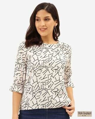 Shop Style Quotient Women White & Black Abstract Print Regular Top-Front