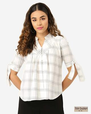 Shop Style Quotient Women White & Black Checked Shirt Style Top-Front