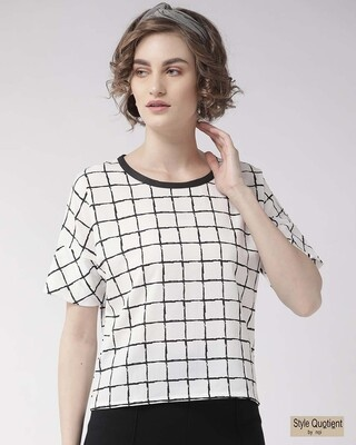 Shop Style Quotient Women White & Black Checked Top-Front