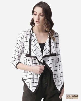 Shop Style Quotient Women White & Black Checked Waterfall Shrug-Front