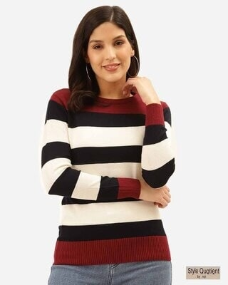 Shop Style Quotient Women White & Black Striped Pullover-Front