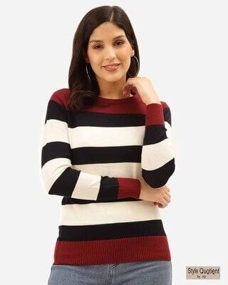 Shop Style Quotient Women White & Black Striped Pullover-Front