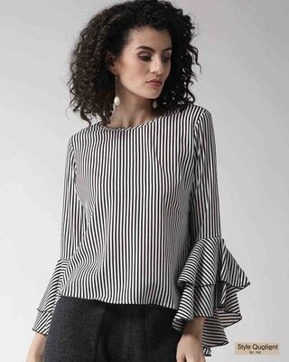 Shop Style Quotient Women White & Black Striped Top-Front