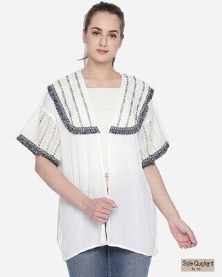 Shop Style Quotient Women White & Grey Self Design Shrug-Front