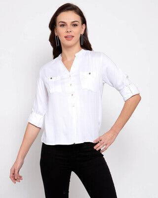 Shop Style Quotient Women White Boxy Solid Casual Shirt-Front