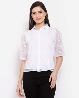 Shop Style Quotient Women White Printed Casual Shirt-Front