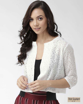Shop Style Quotient Women White Self Design Open Front Shrug-Front