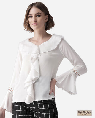 Shop Style Quotient Women White Semi-Sheer Solid Top-Front