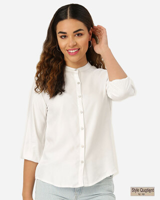 Shop Style Quotient Women White Smart Solid Formal Shirt-Front