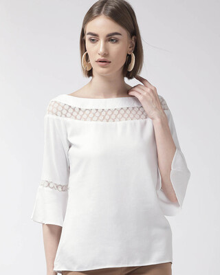 Shop Style Quotient Women White Solid Top-Front