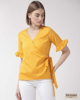 Shop Style Quotient Women Yellow & White Polka Dot Printed Wrap Top-Front