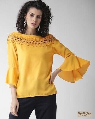 Shop Style Quotient Women Yellow boat neck Solid Top-Front