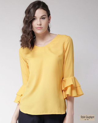Shop Style Quotient Women Yellow Solid Top-Front