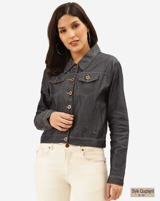 Shop Style Quotient Womens Blue Denim Jacket-Front