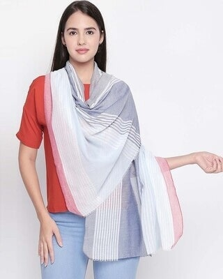 Shop Style Quotient Womens Cotton Blue & Red  Scarf-Front