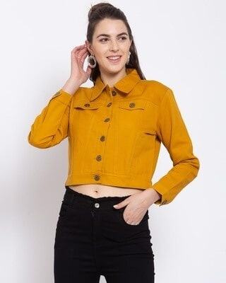 Shop Style Quotient Womens Mustard Solid Denim Jackets-Front