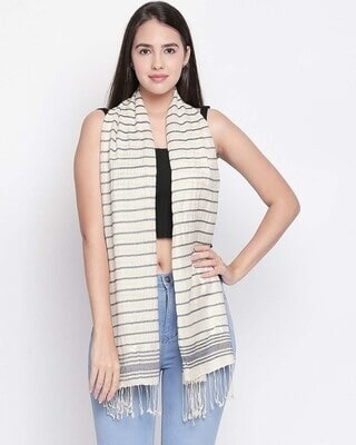 Shop Style Quotient Womens Viscose Rayon Cream & Black  Scarf-Front