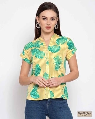 Shop Style Quotient Womens Yellow & Green Tropical Printed Casual Shirt-Front