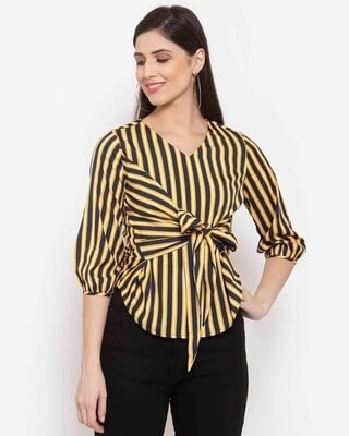 Shop Style Quotient Yellow Striped Puff Sleeve Crepe Cinched Waist Top-Front