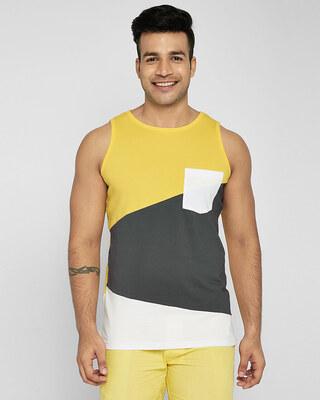Shop Happy Yellow Color Block Vest-Front