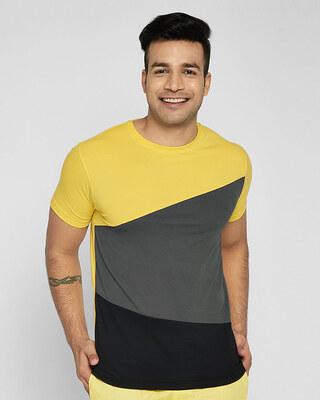 Shop Happy Yellow Color Block T-Shirt-Front